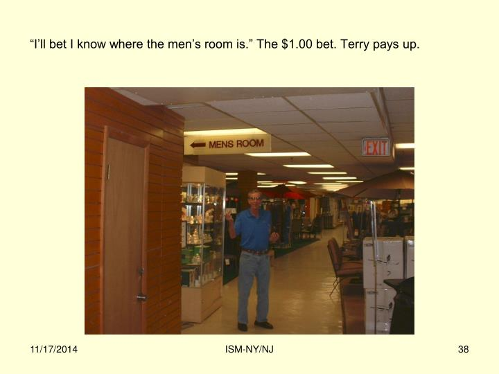 """""""I'll bet I know where the men's room is."""" The $1.00 bet. Terry pays up."""
