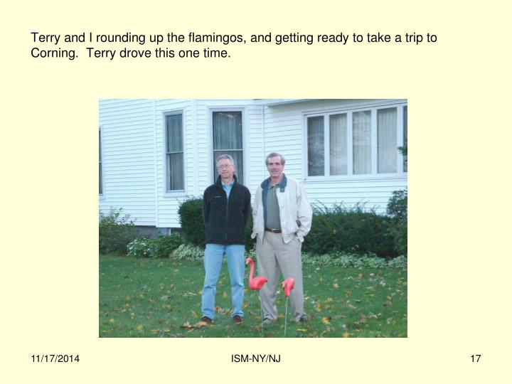 Terry and I rounding up the flamingos, and getting ready to take a trip to Corning.  Terry drove this one time.