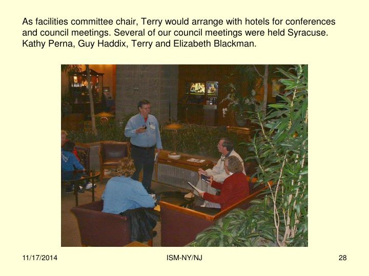 As facilities committee chair, Terry would arrange with hotels for conferences and council meetings. Several of our council meetings were held Syracuse. Kathy Perna, Guy Haddix, Terry and Elizabeth Blackman.