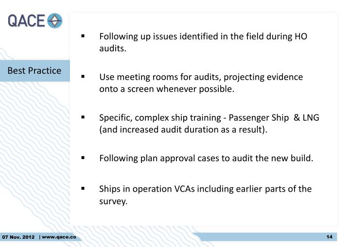 Following up issues identified in the field during HO audits
