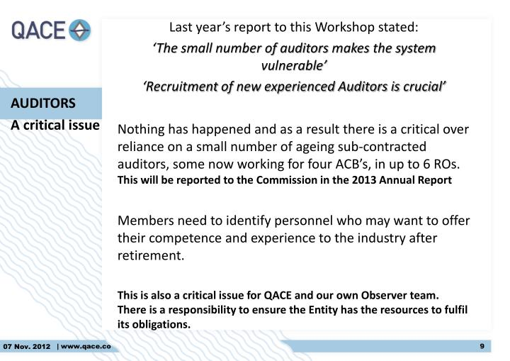 Last year's report to this Workshop stated:
