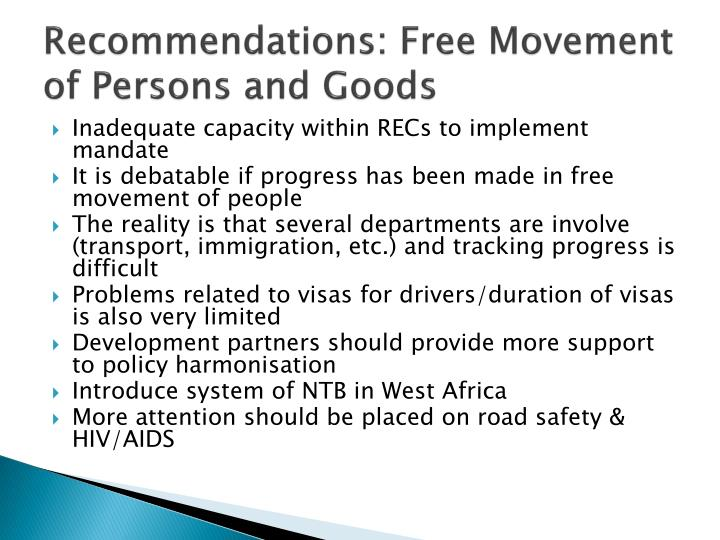 Recommendations: Free Movement of Persons