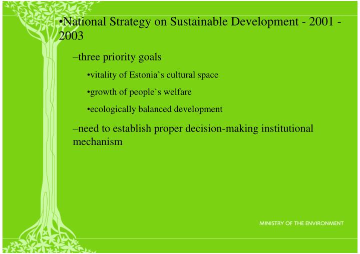 National Strategy on Sustainable Development - 2001 - 2003