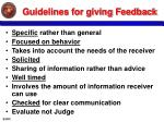 guidelines for giving feedback