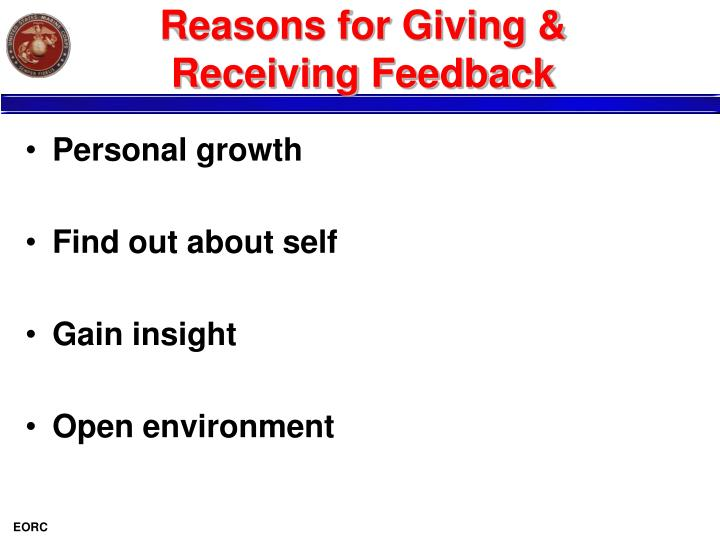 Reasons for Giving & Receiving Feedback