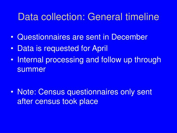 Data collection: General timeline