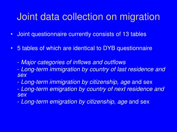 Joint data collection on migration