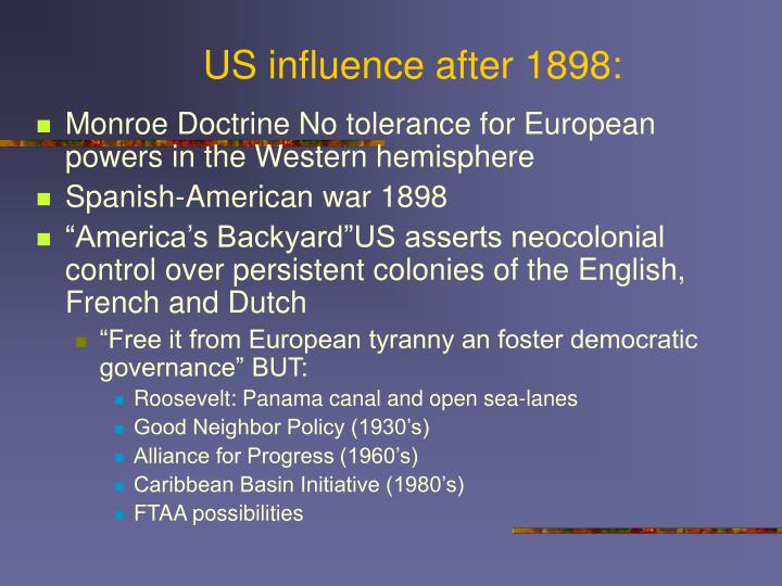 US influence after 1898: