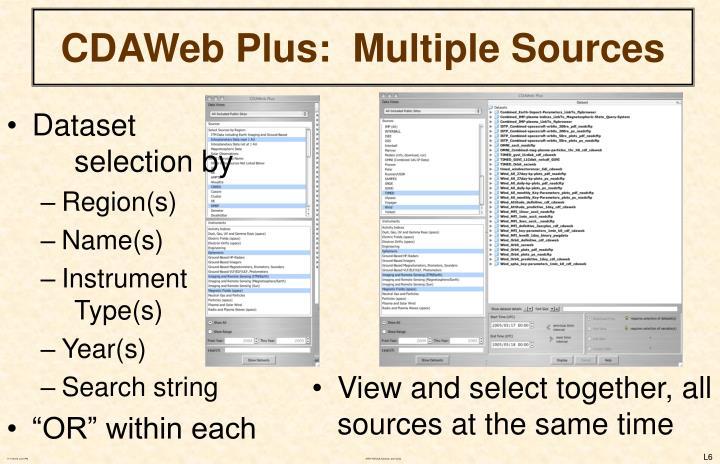CDAWeb Plus:  Multiple Sources
