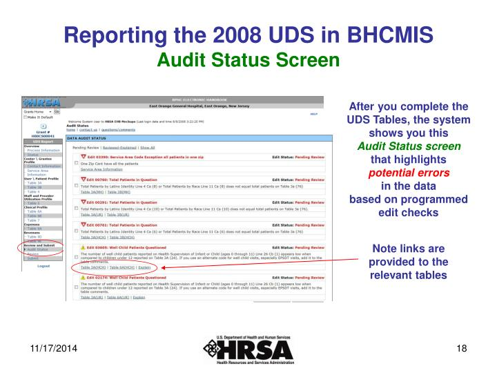 Reporting the 2008 UDS in BHCMIS
