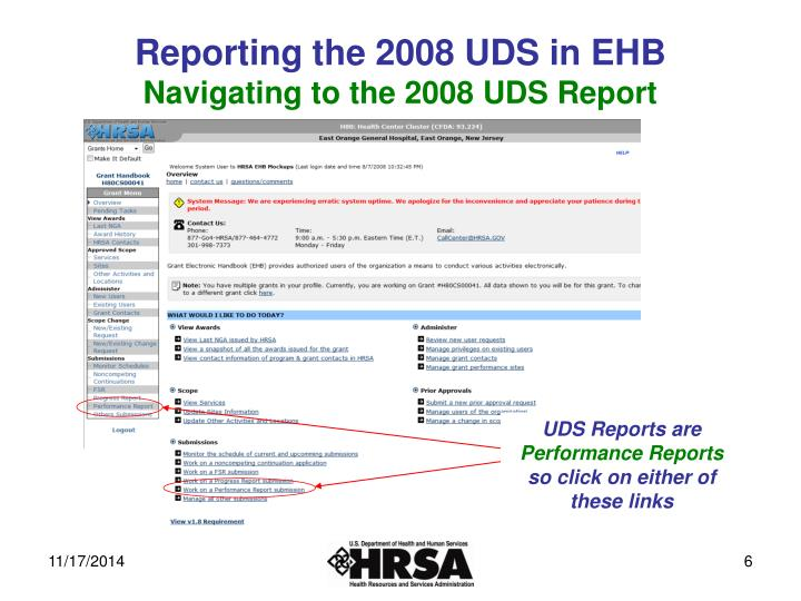 Reporting the 2008 UDS in EHB