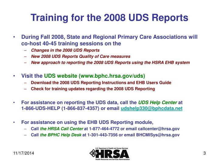 Training for the 2008 UDS Reports