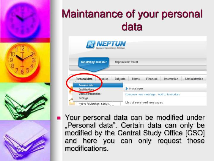 Maintanance of your personal data