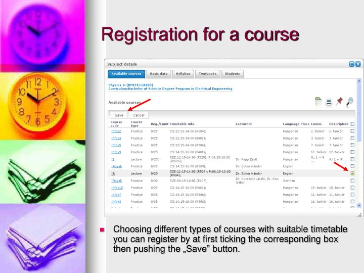 Registration for a course
