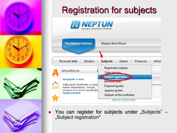 """You can register for subjects under """""""