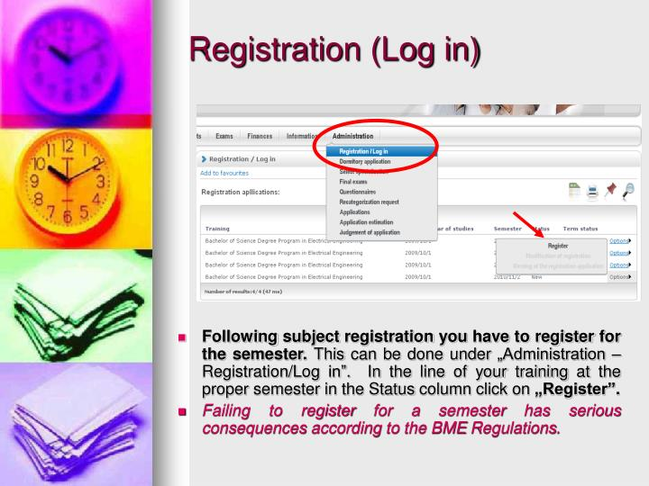 Registration (Log in)