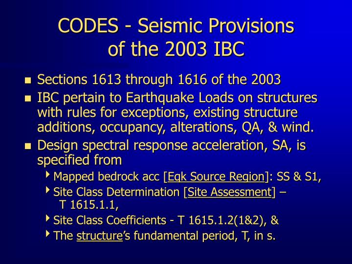 CODES - Seismic Provisions