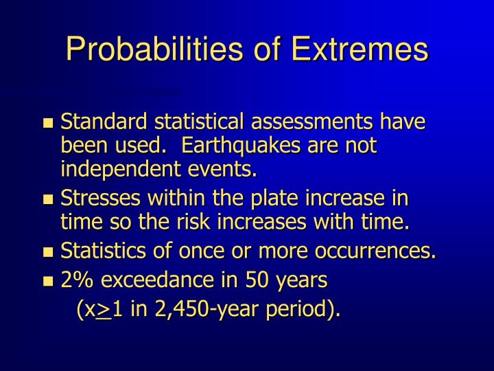 Probabilities of Extremes