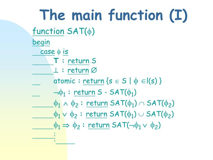 The main function (I)