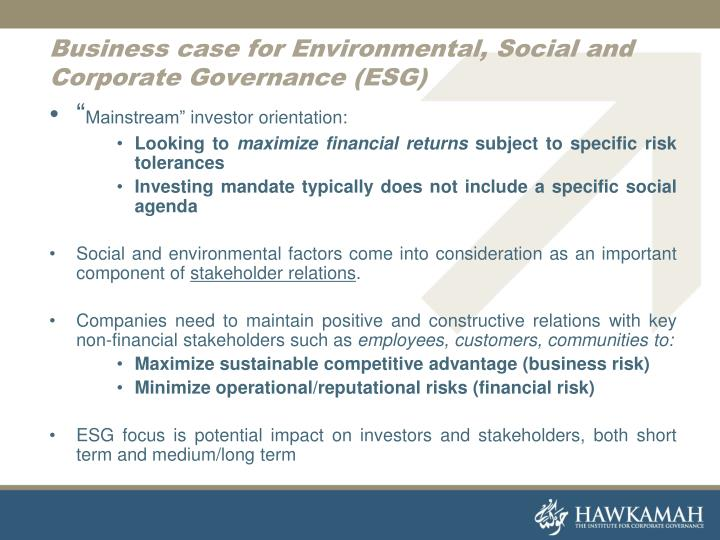 Business case for Environmental, Social and Corporate Governance (ESG)