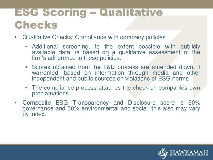 ESG Scoring – Qualitative Checks