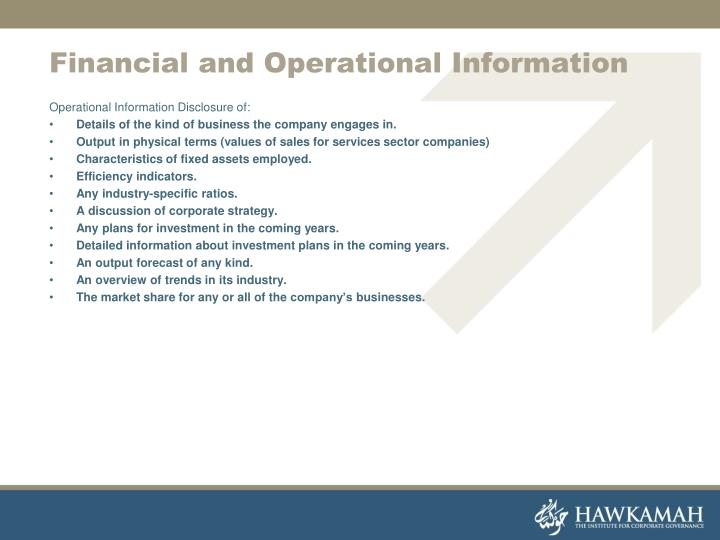 Financial and Operational Information