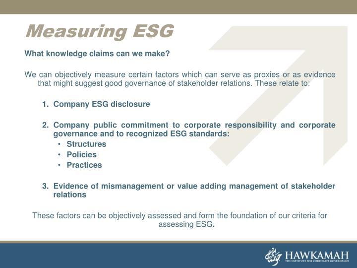 Measuring ESG