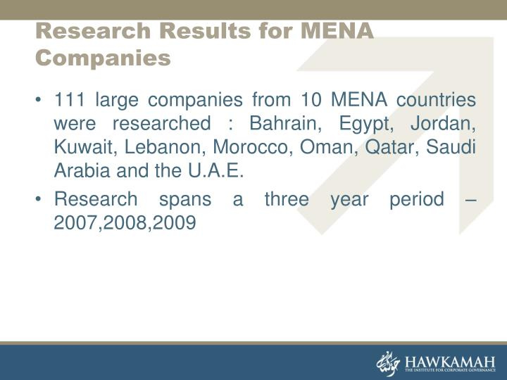 Research Results for MENA Companies