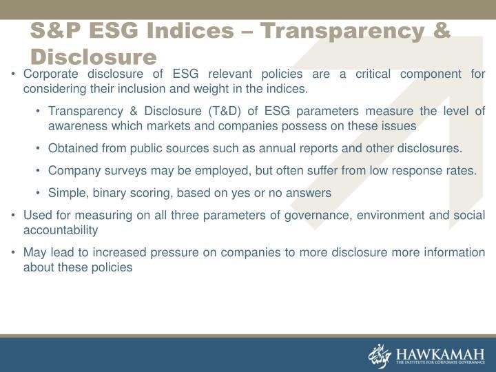 S&P ESG Indices – Transparency & Disclosure