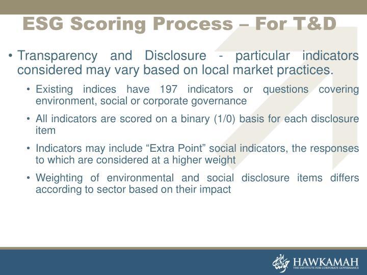 ESG Scoring Process – For T&D