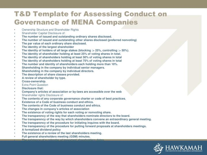 T&D Template for Assessing Conduct on Governance of MENA Companies