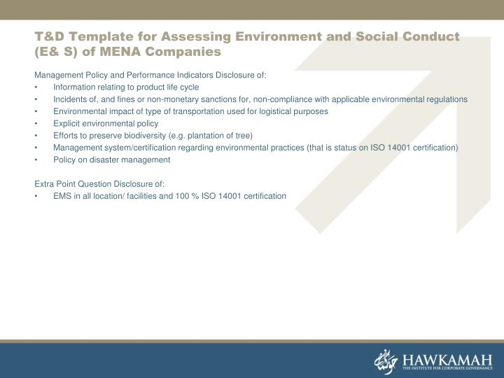 T&D Template for Assessing Environment and Social Conduct (E& S) of MENA Companies