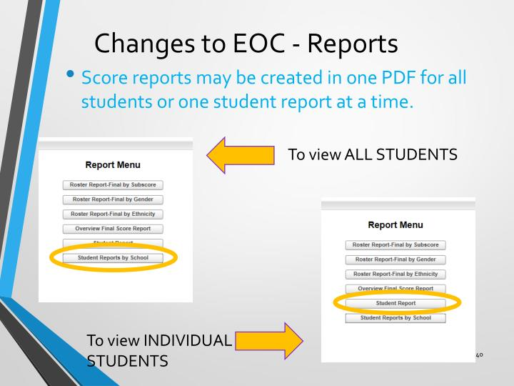Changes to EOC - Reports