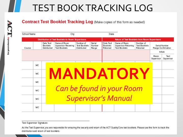 Test book tracking log