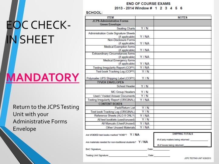 EOC Check-in SHEET