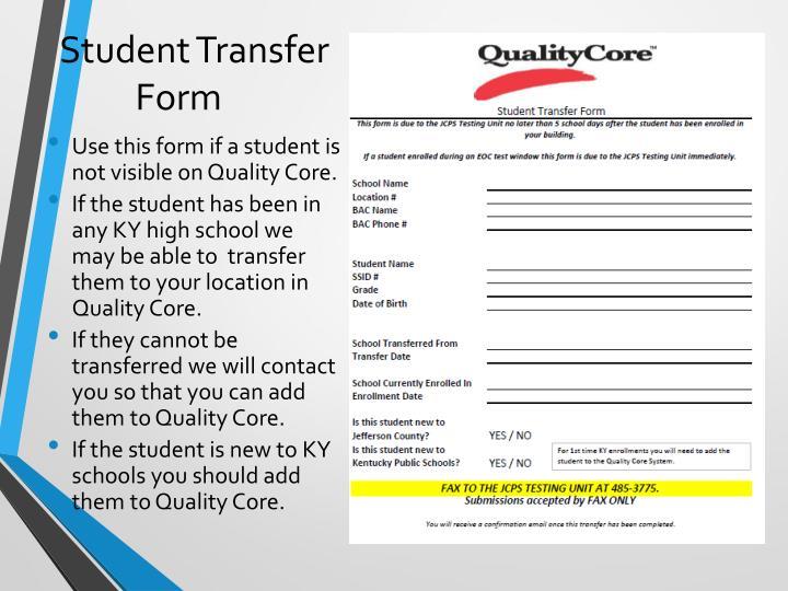 Student Transfer Form