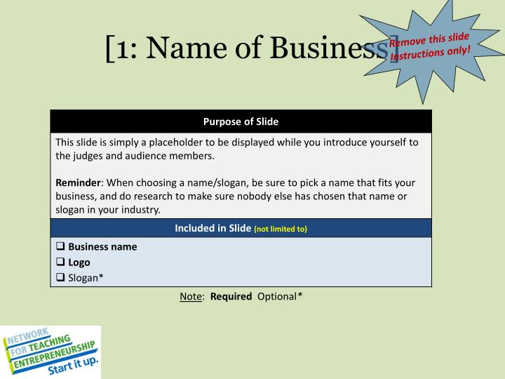 [1: Name of Business]
