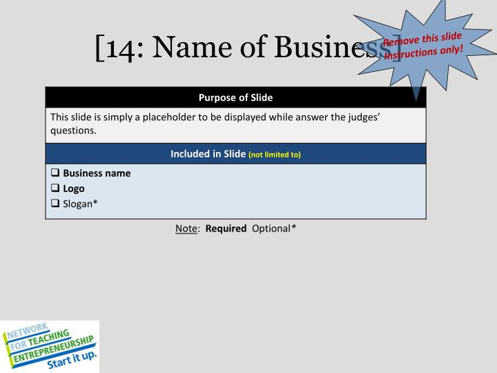 [14: Name of Business]