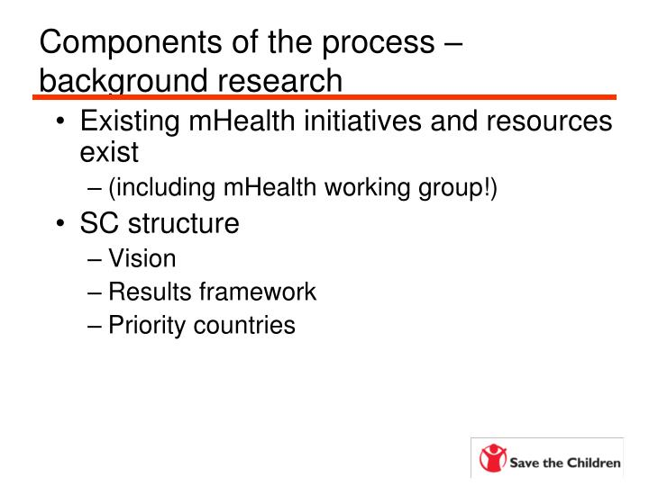 Components of the process – background research