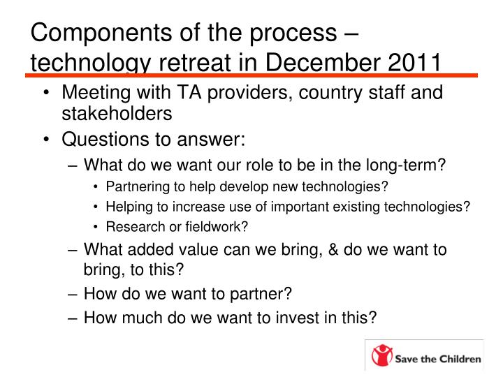 Components of the process – technology retreat in December 2011