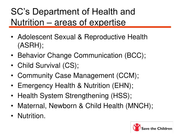 SC's Department of Health and Nutrition – areas of expertise