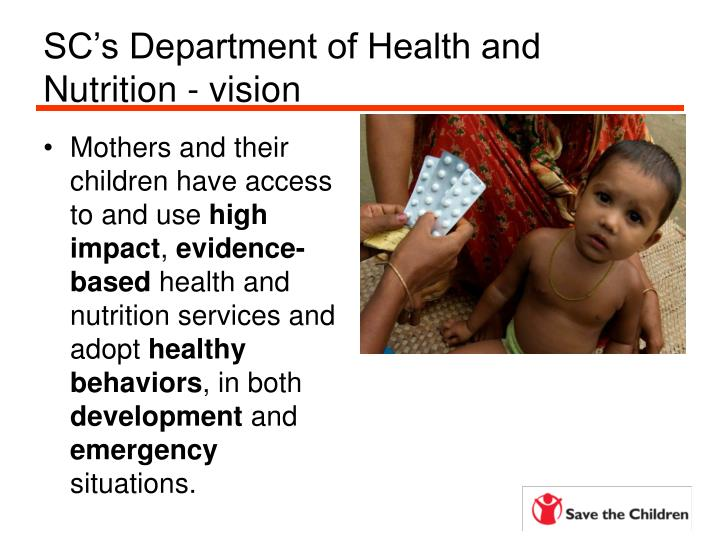 SC's Department of Health and Nutrition - vision