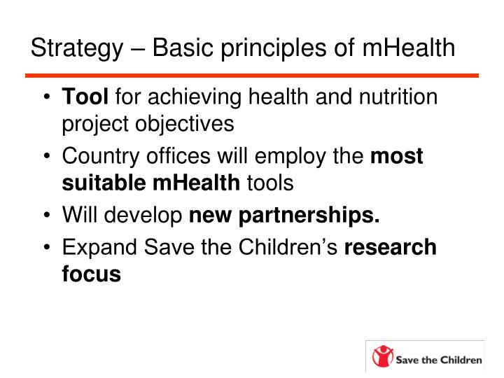 Strategy – Basic principles of mHealth
