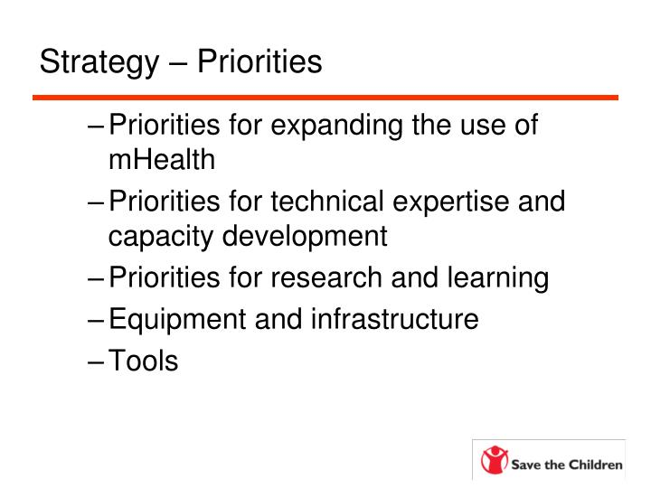 Strategy – Priorities