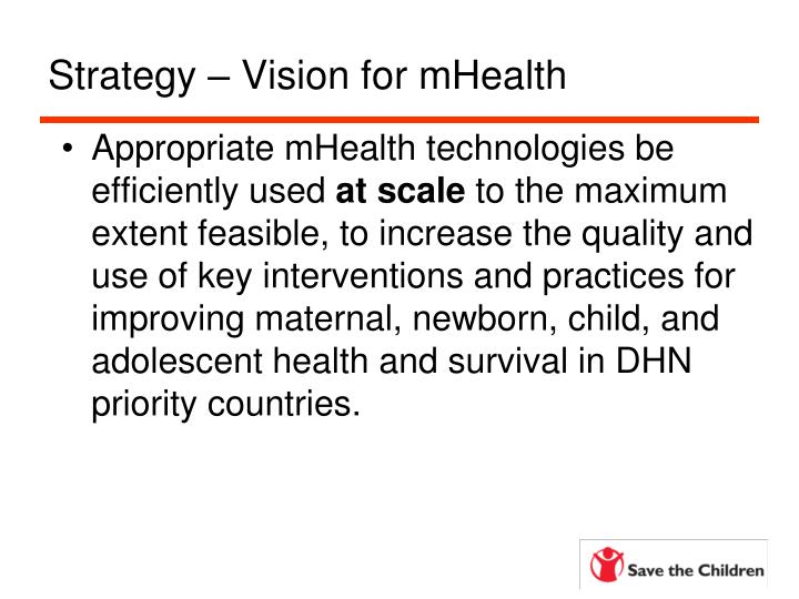 Strategy – Vision for mHealth