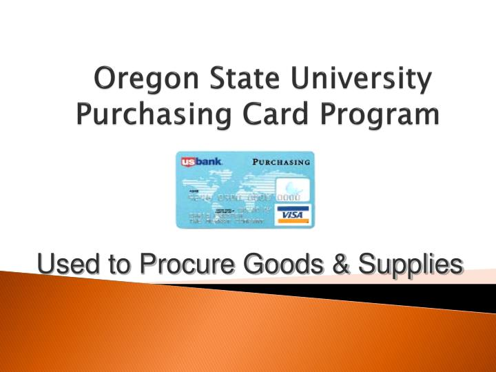 oregon state university purchasing card program