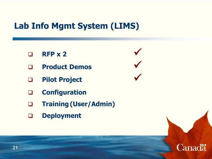 Lab Info Mgmt System (LIMS)