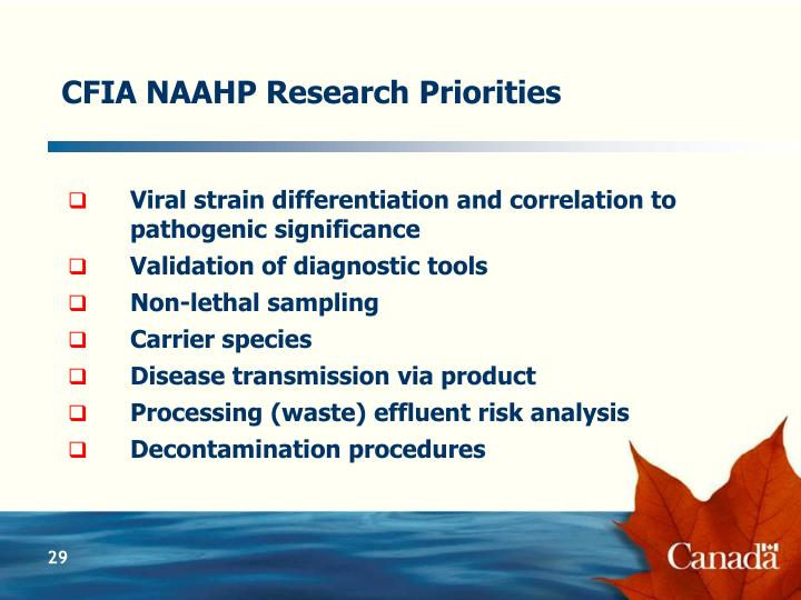 CFIA NAAHP Research Priorities