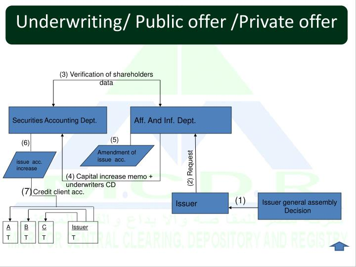 Underwriting/ Public offer /Private offer