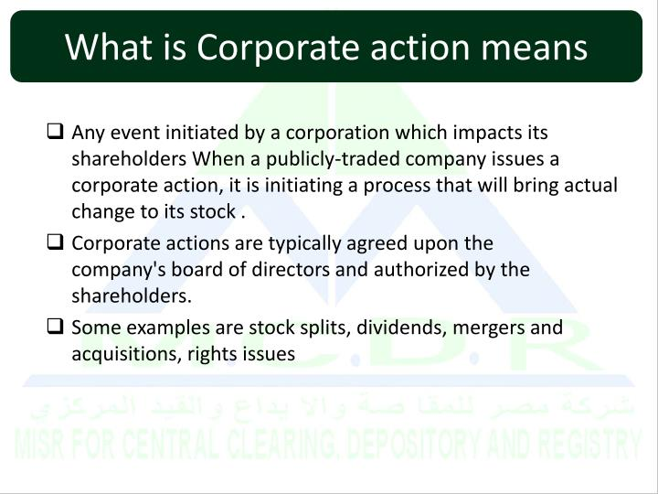 What is Corporate action means